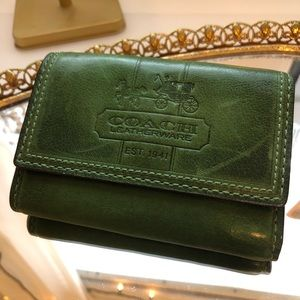 Coach Vintage-Looking Leather Green Coach Wallet